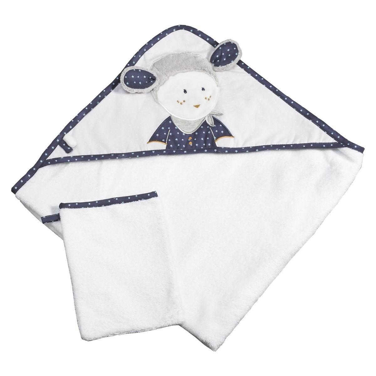 Sortie de bain 75x75cm et son gant en coton blanc