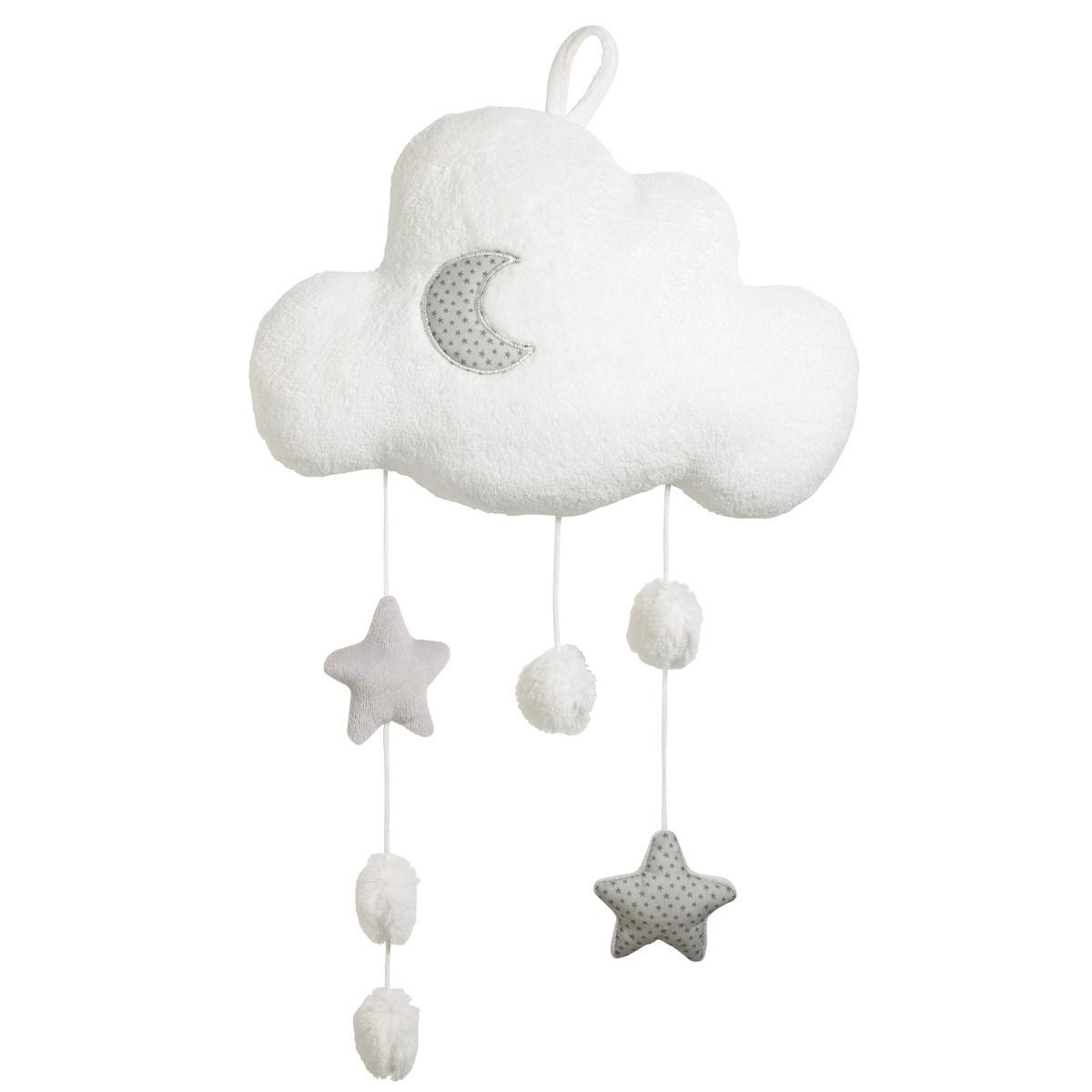 Suspension décorative murale nuage en polyester blanc