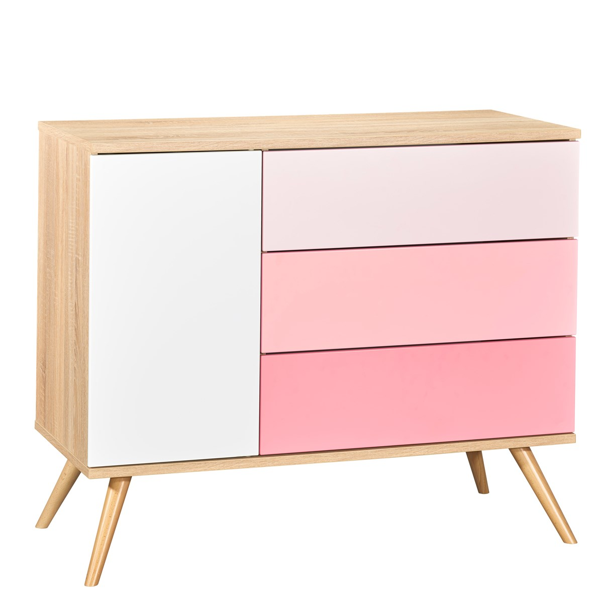 Commode 1 porte et 3 tiroirs en bois rose