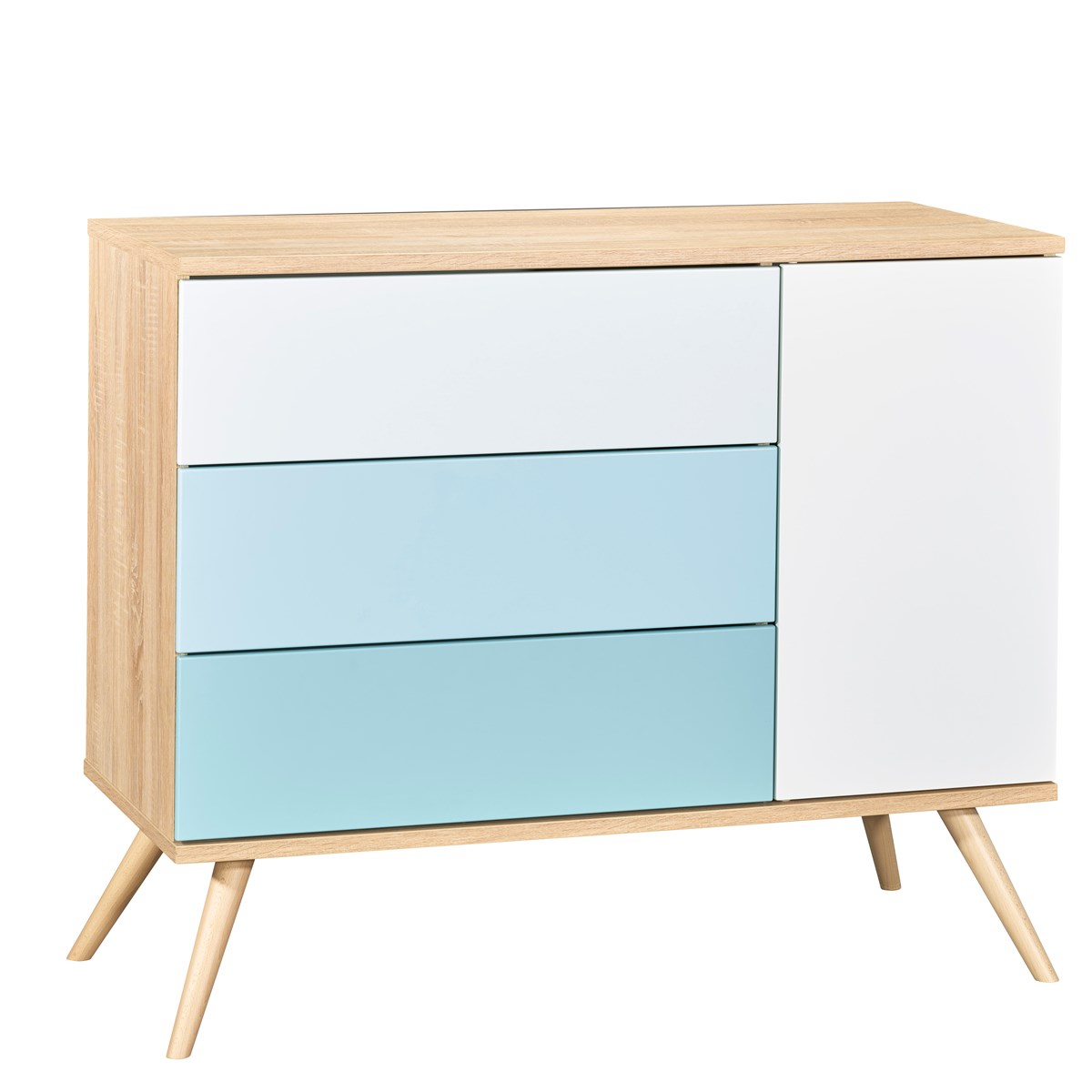Commode 1 porte et 3 tiroirs en bois bleu