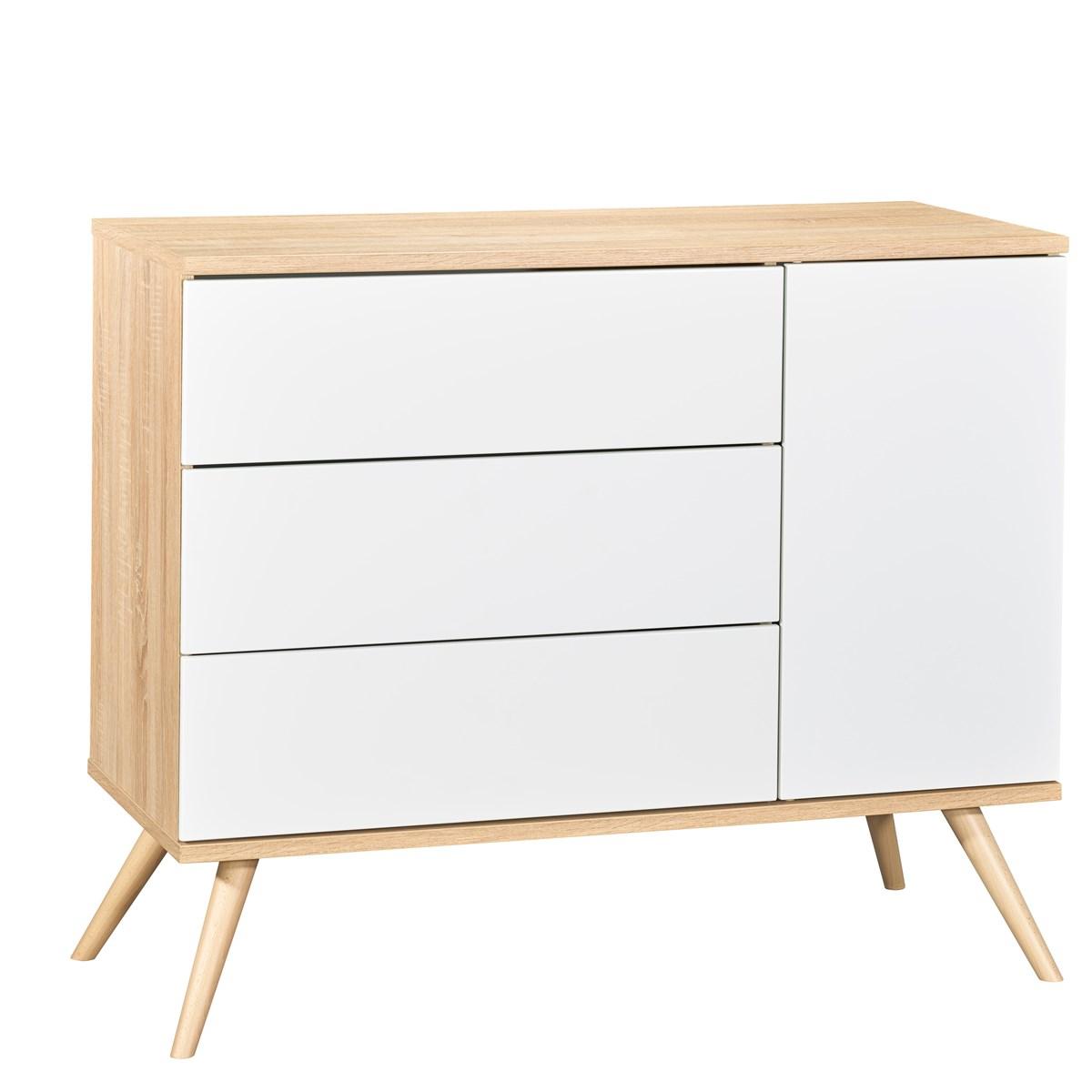 Commode 1 porte et 3 tiroirs en bois blanc
