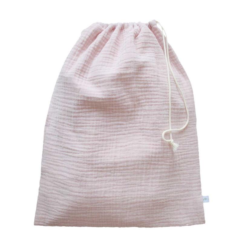 Pochon en double gaze de coton rose pale