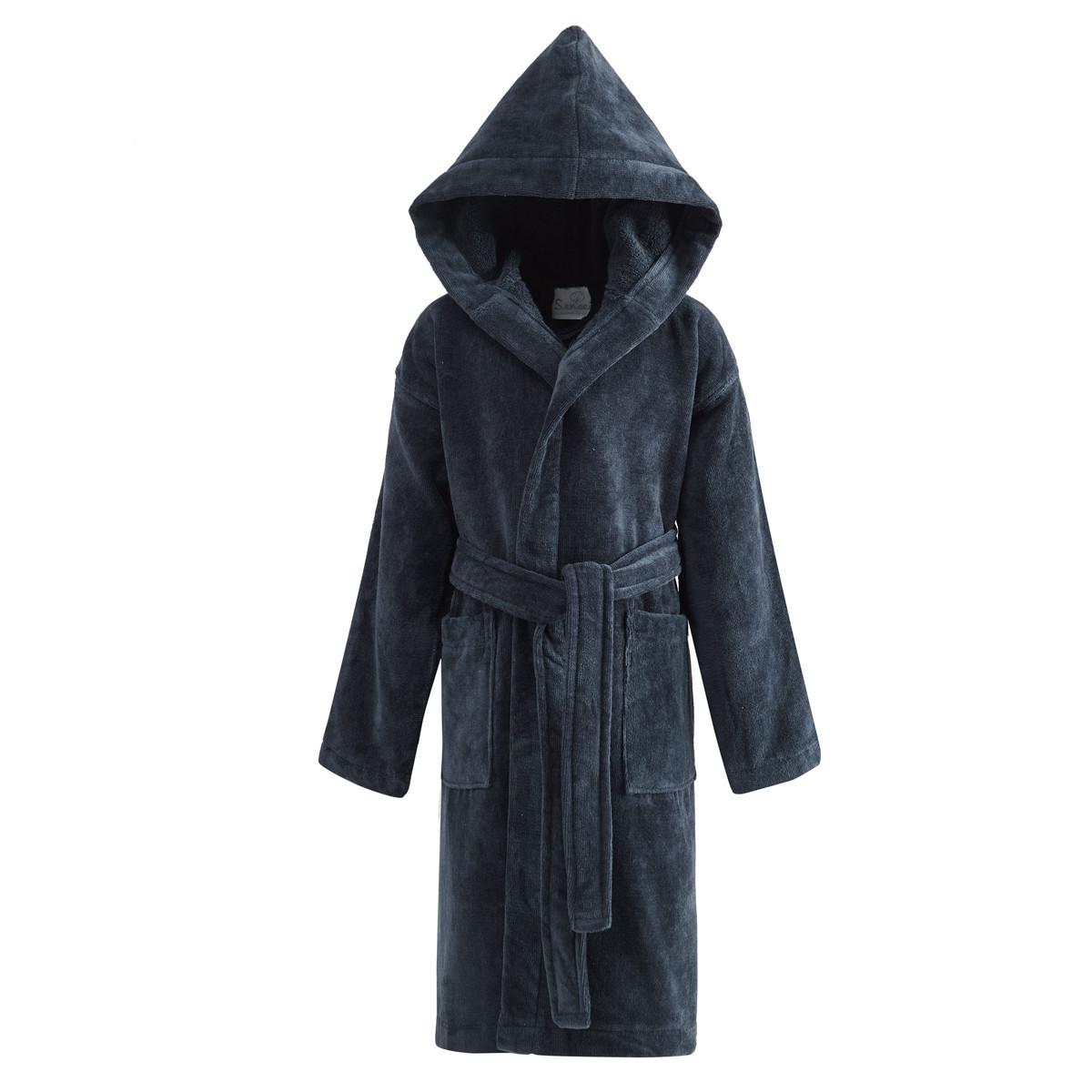 Peignoir enfant velours à capuche Bleu Nuit 08/10 ans