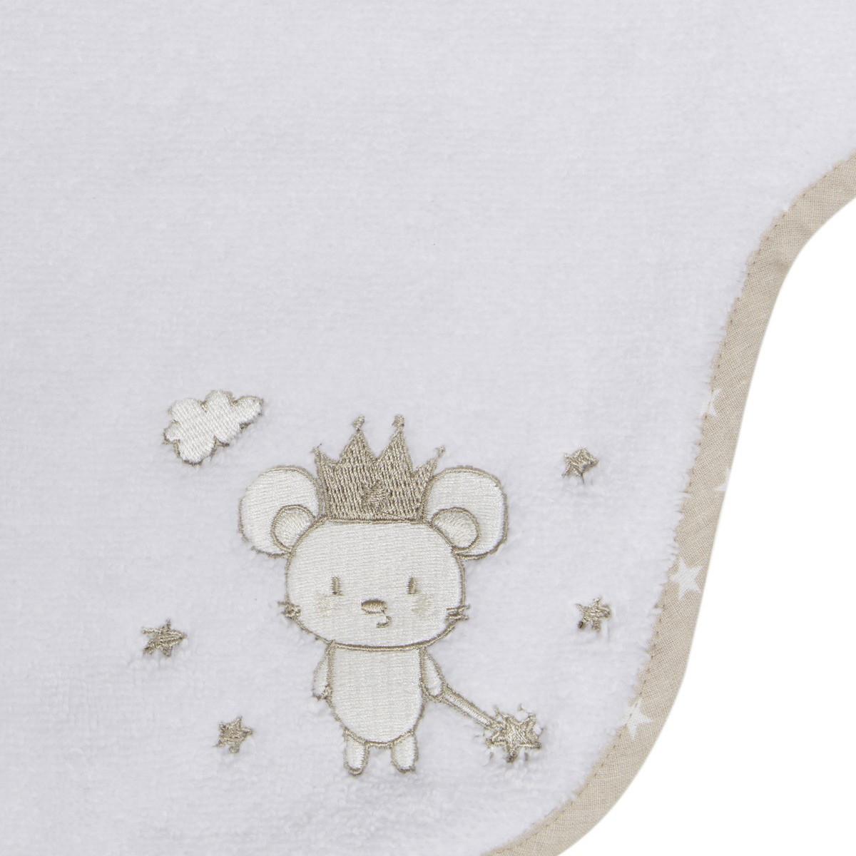 Bavoir à manches en coton peigné  Blanc 24x36 cm