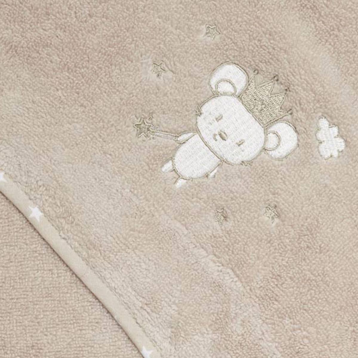 Cape de bain bébé en coton peigné  Sable 75x75 cm