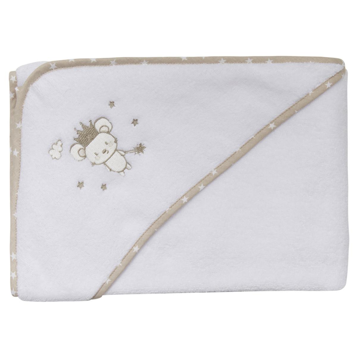 Cape de bain bébé en coton peigné  Blanc 75x75 cm