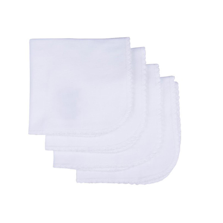 Lingettes lavables en coton biologique (lot de 4) blanc bébé