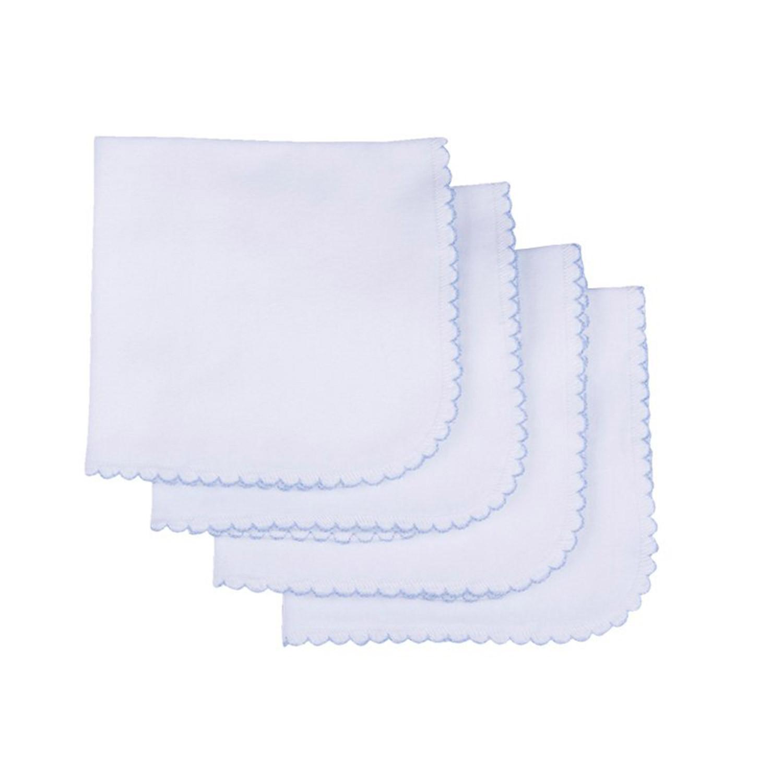 Lingettes lavables en coton biologique (lot de 4) blanc  et  bleu bébé