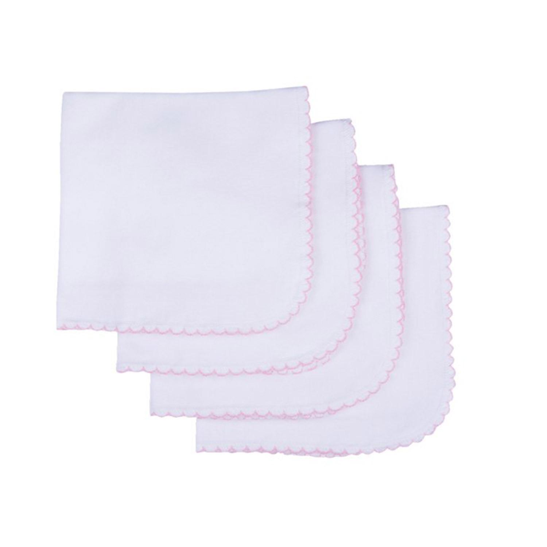 Lingettes lavables en coton biologique (lot de 4) blanc  et  rose bébé