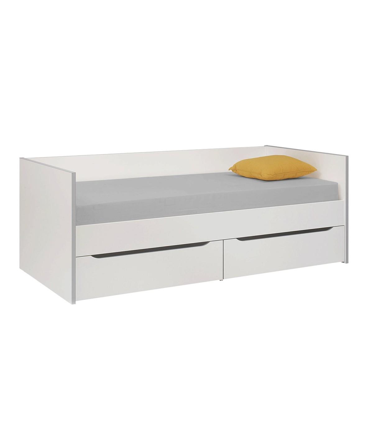 Lit Enfant Banquette et Rangements - Blanc 90x200