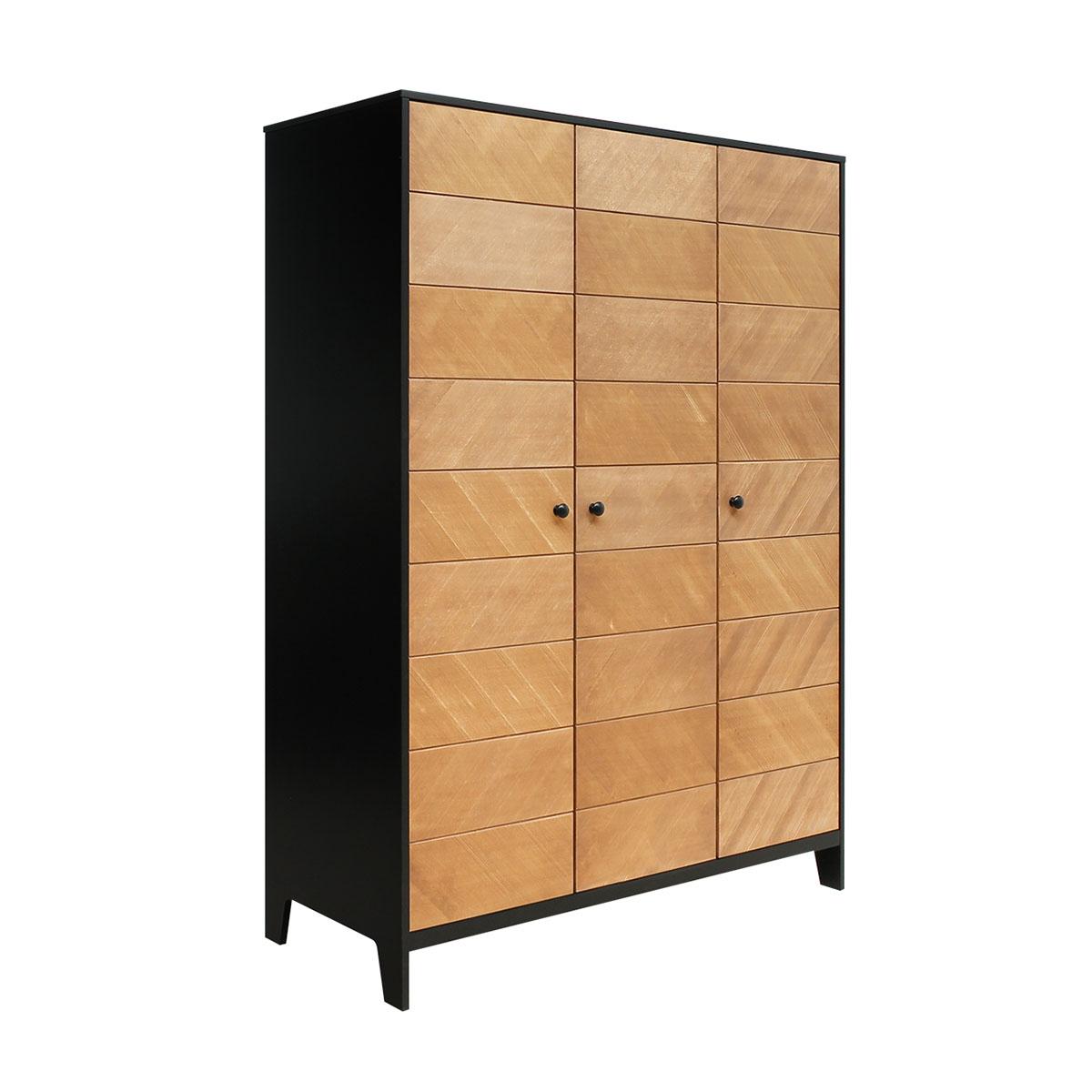 Armoire 3 portes noir bois naturel