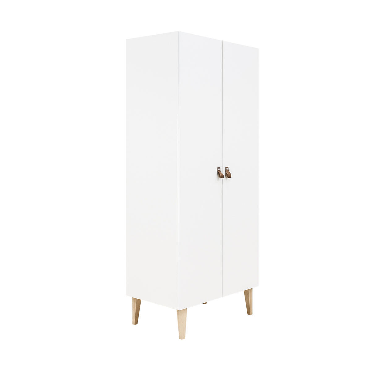 Armoire 2 portes blanc bois naturel