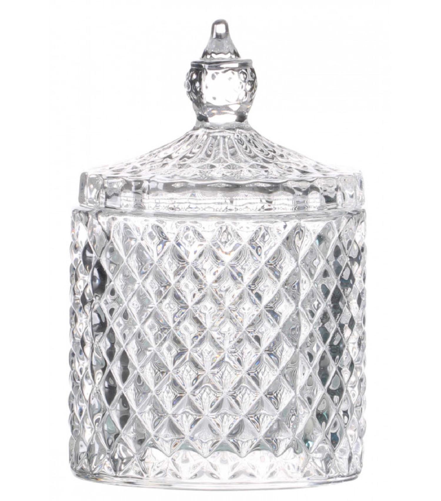Boîte rangement ronde salle de bain verre 8,5x13cm