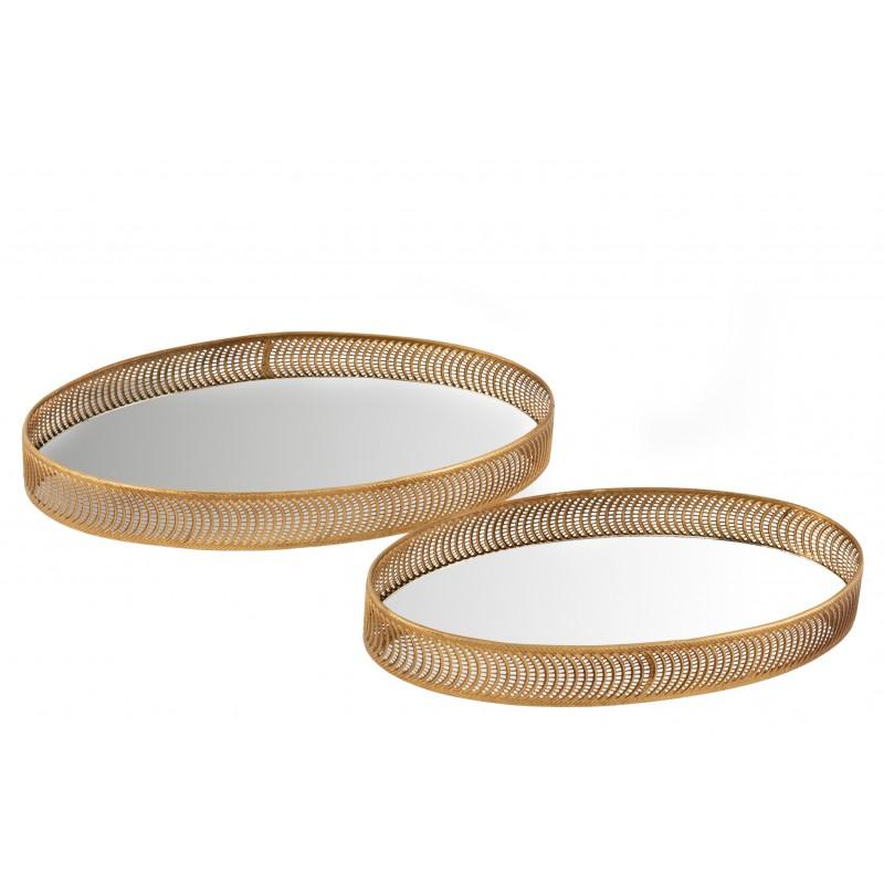 Set de 2 plateaux ovales métal or et miroir