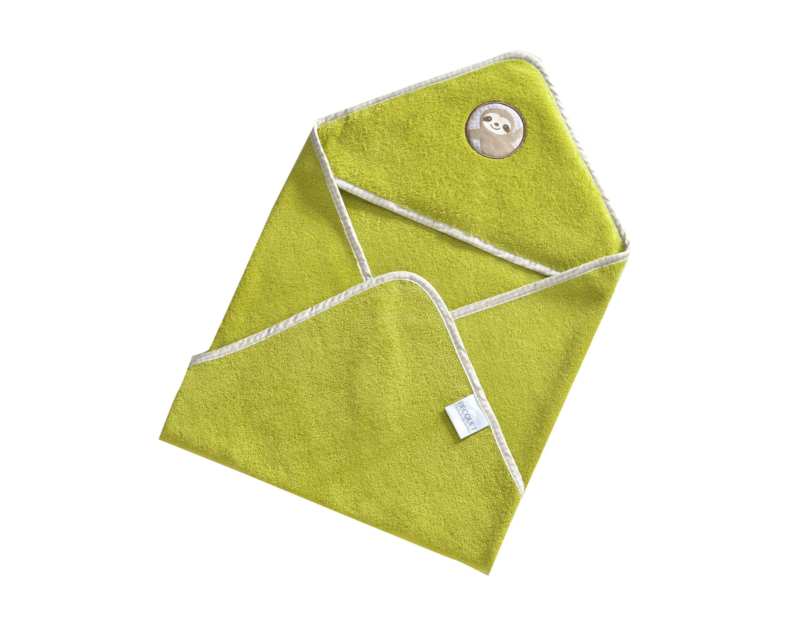 Cape de bain bébé vert 70x70 en coton