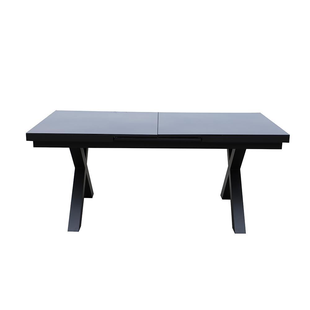 Table de jardin extensible aluminium et verre gris 10 personnes