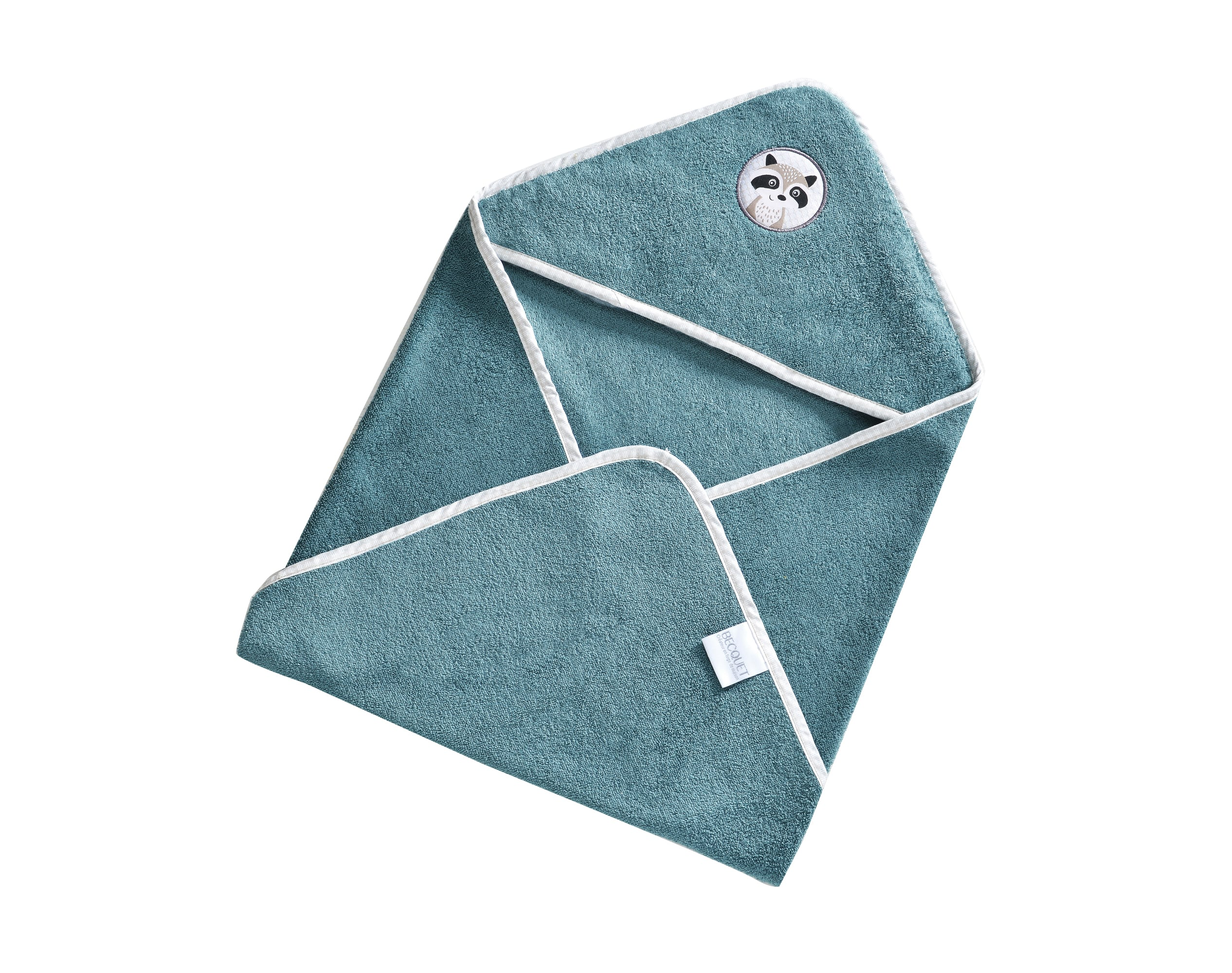 Cape de bain bébé bleu 70x70 en coton