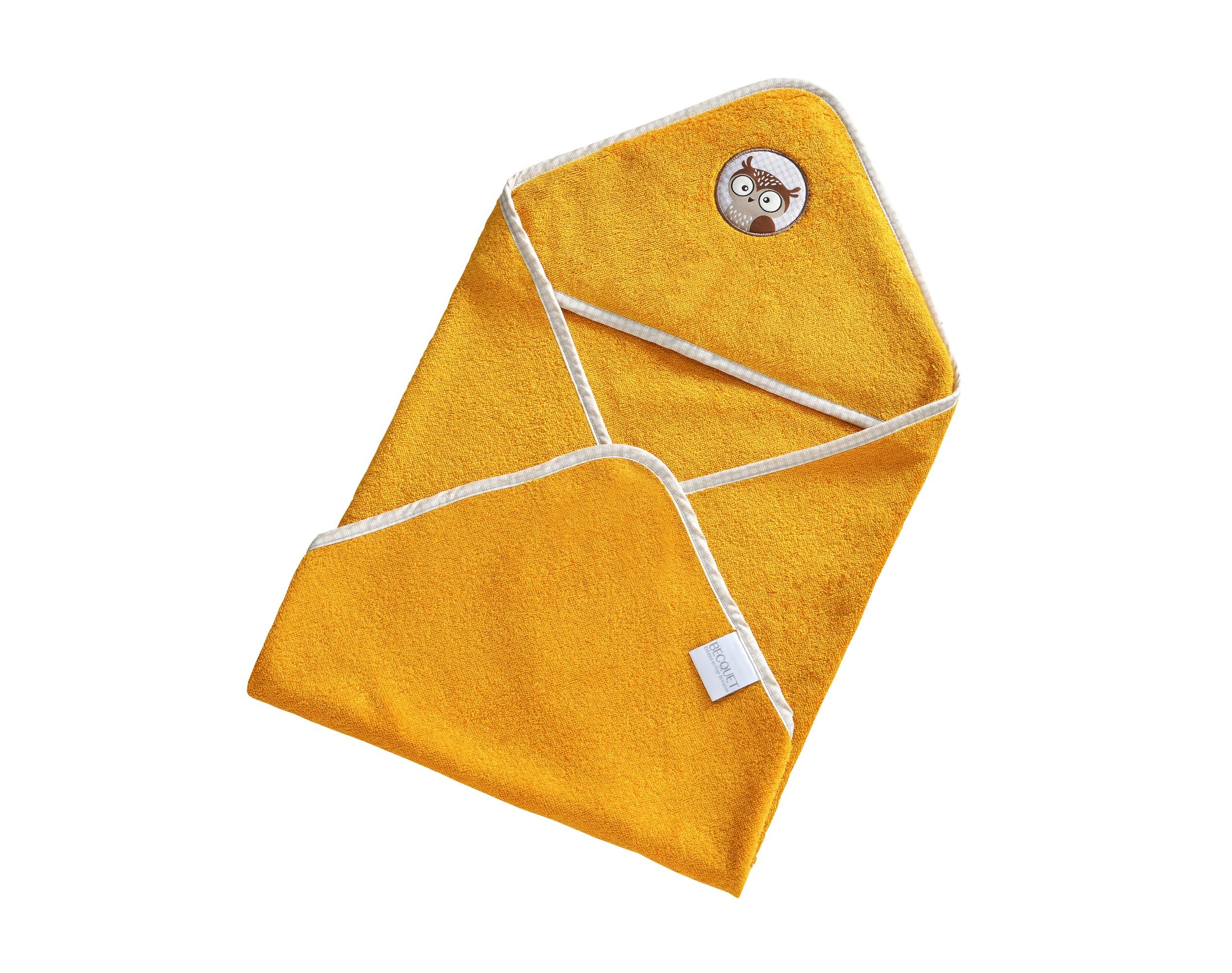 Cape de bain bébé jaune 70x70 en coton