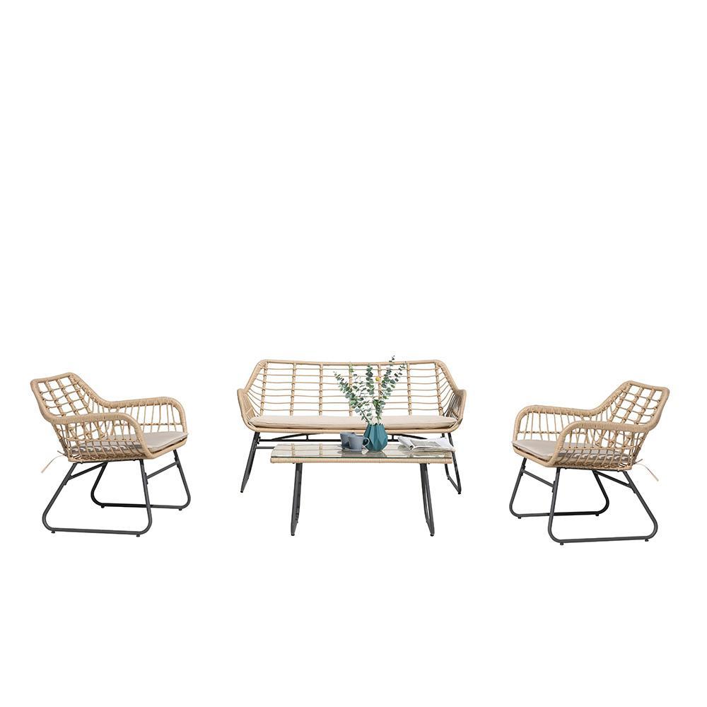 Salon de jardin bas résine tressée beige 4 places