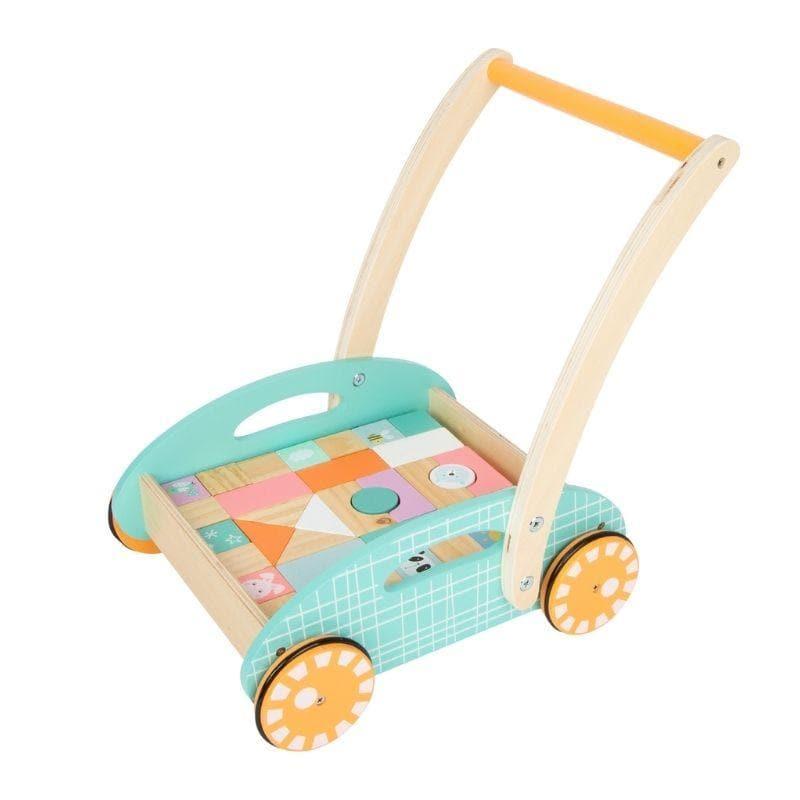Chariot de marche en bois multicolor