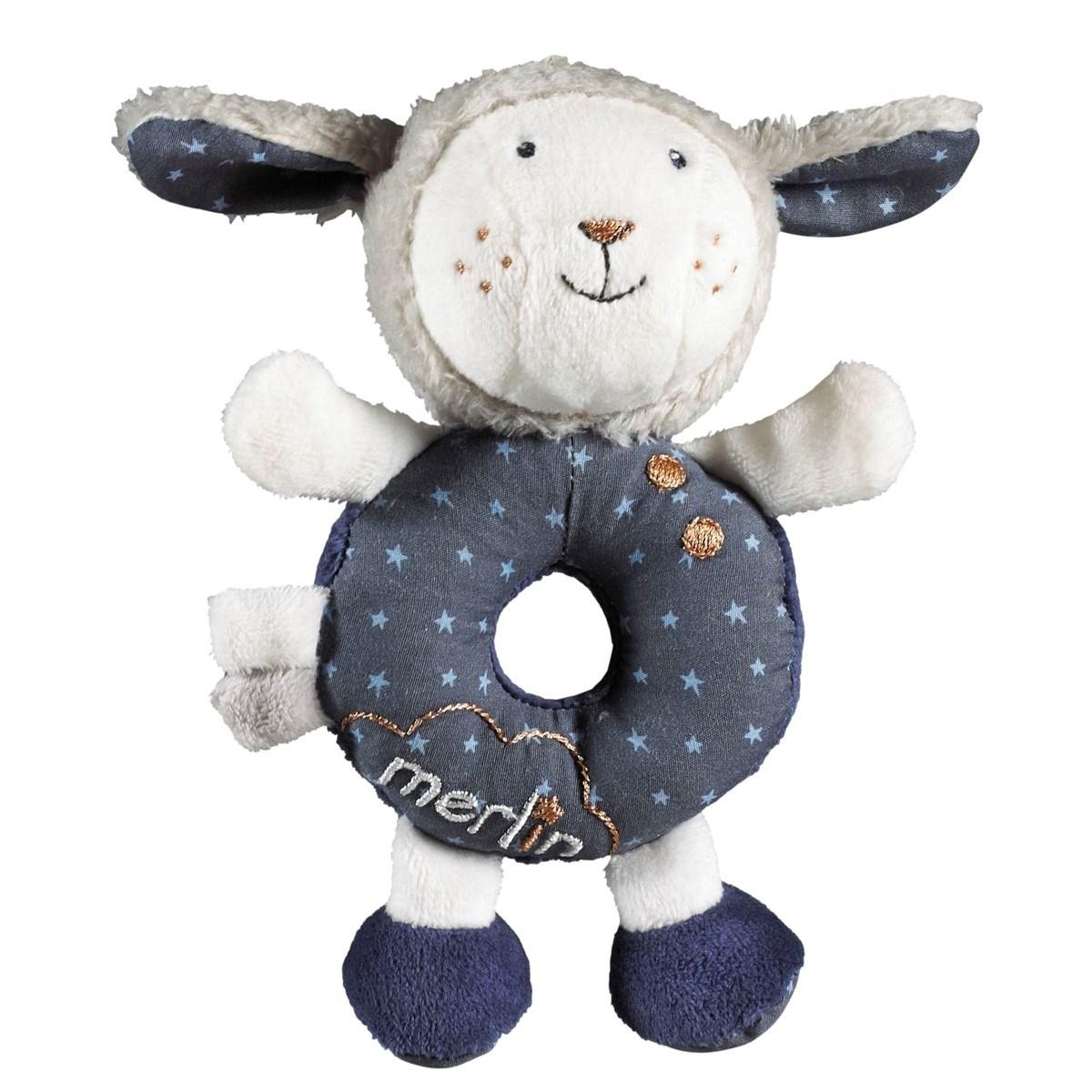 Hochet mouton en velours bleu