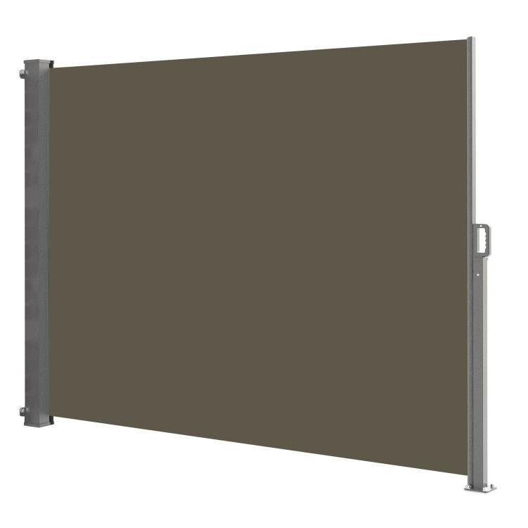 Paravent extérieur rétractable polyester taupe 140x300cm