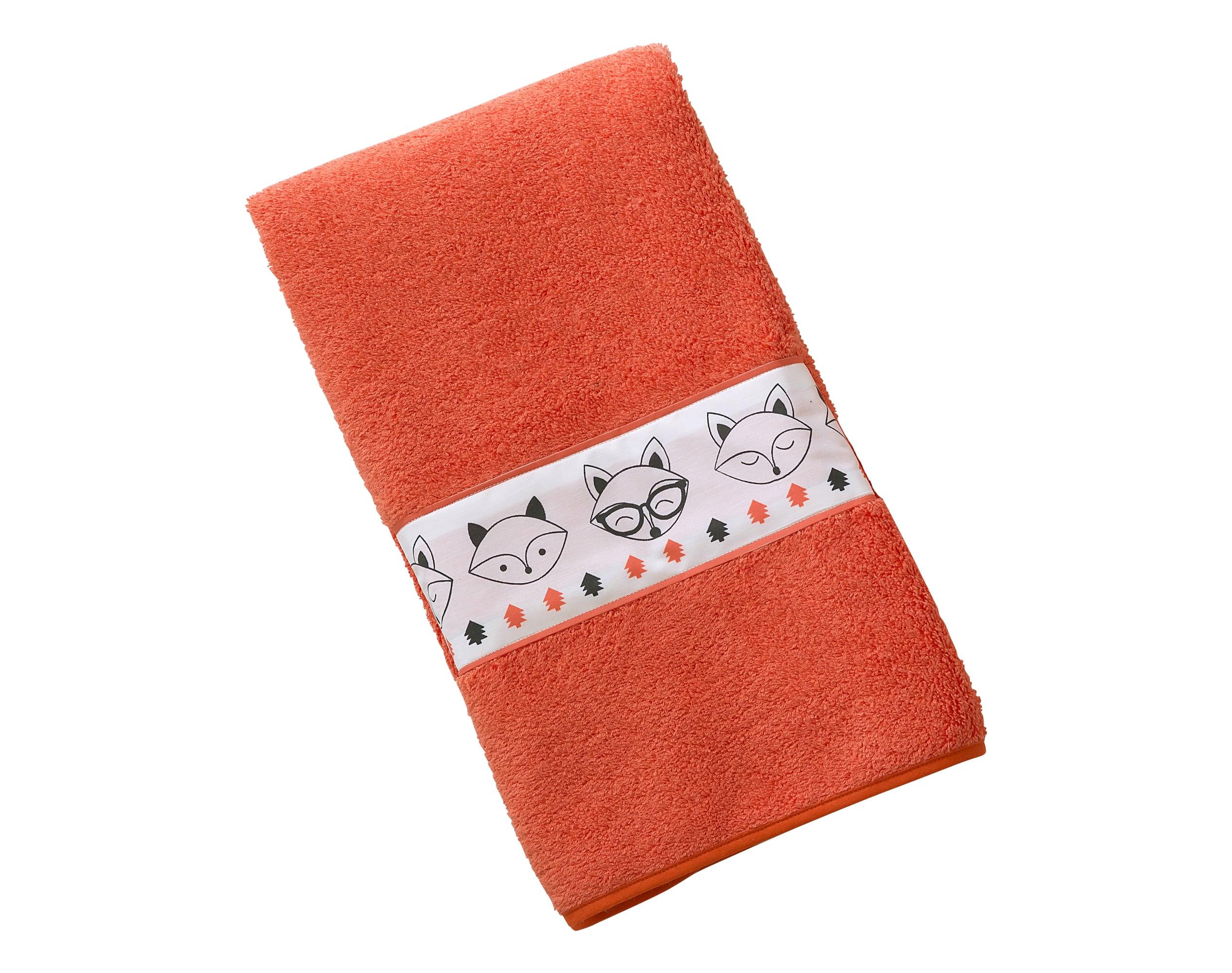 Serviette de bain enfant orange 70x130 en coton
