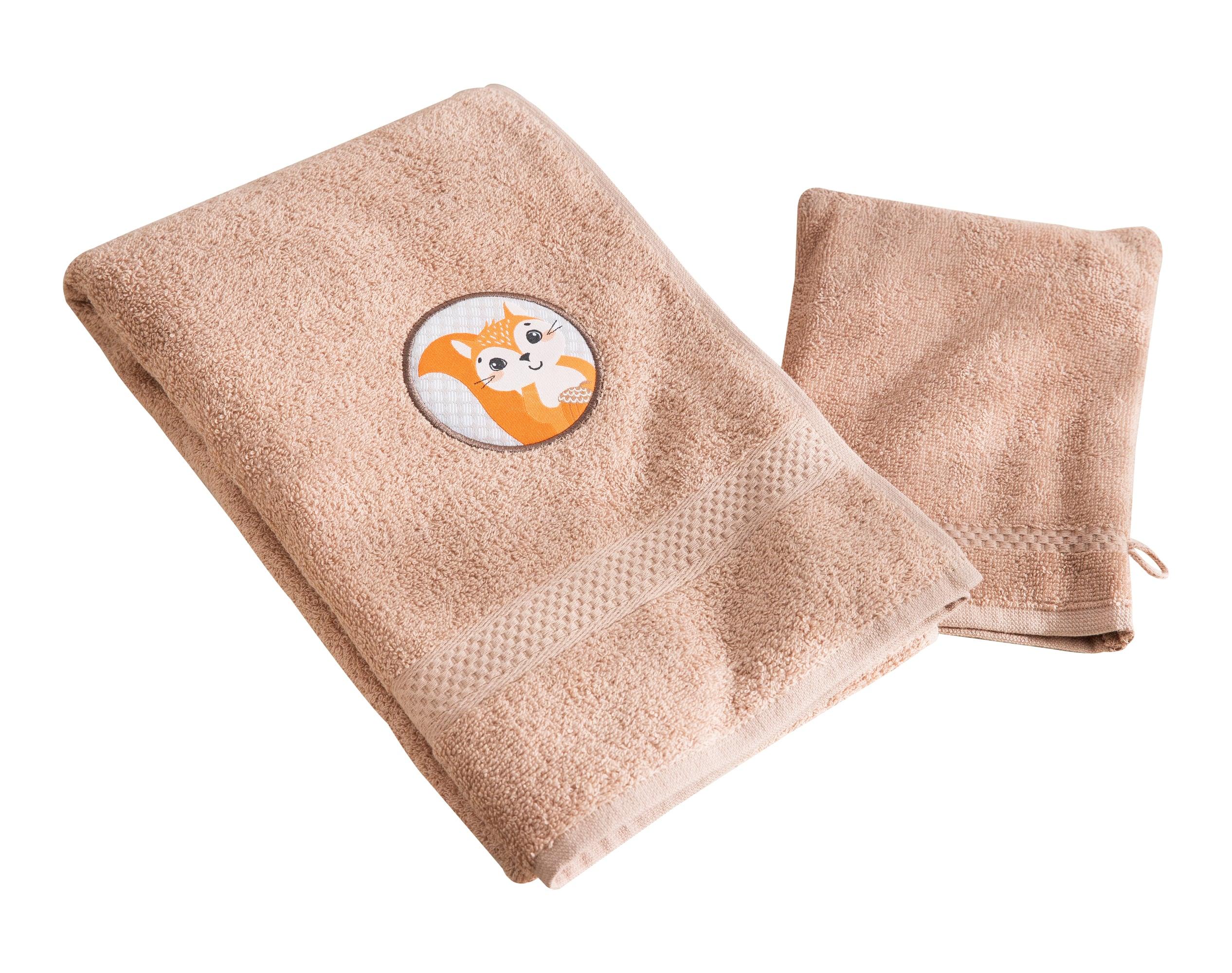 Lot serviette de bain enfant et gant de toilette beige 50x90 en coton