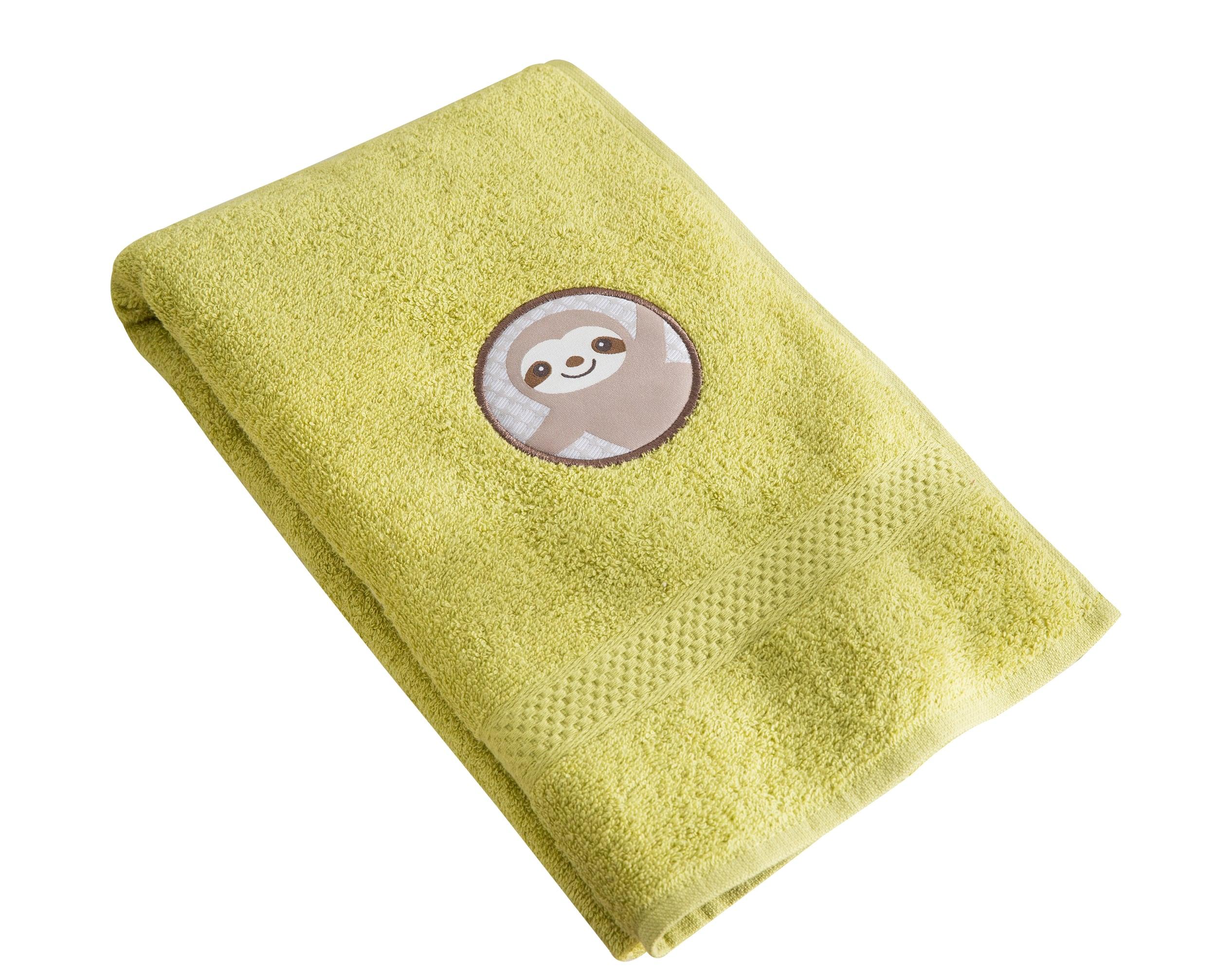 Serviette de bain enfant vert 70x130 en coton