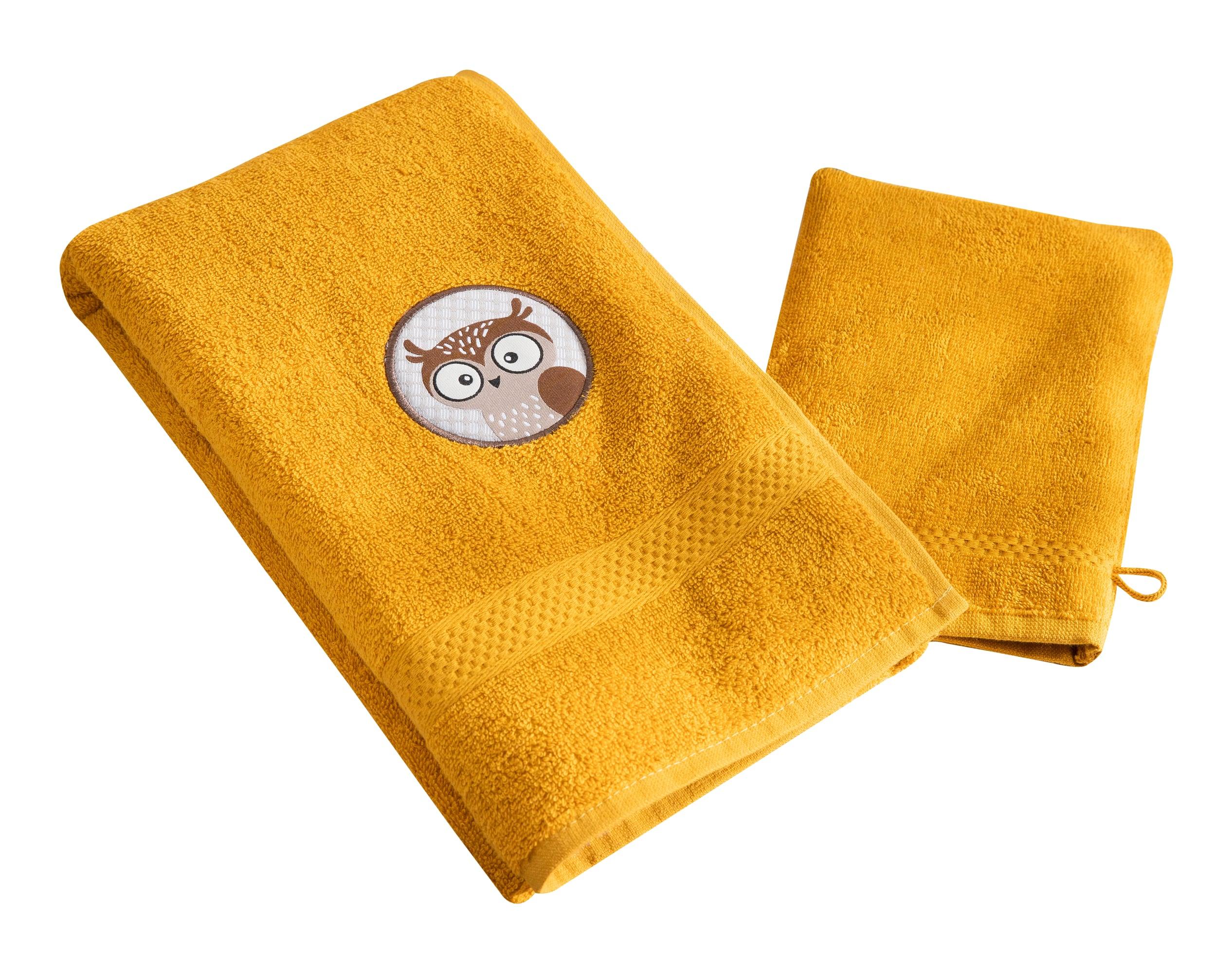 Lot serviette de bain enfant et gant de toilette jaune 50x90 en coton