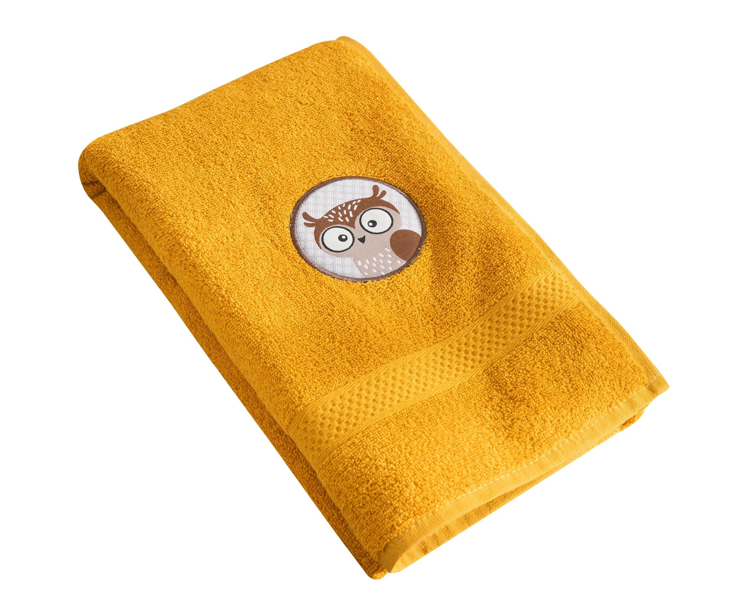Serviette de bain enfant jaune 70x130 en coton