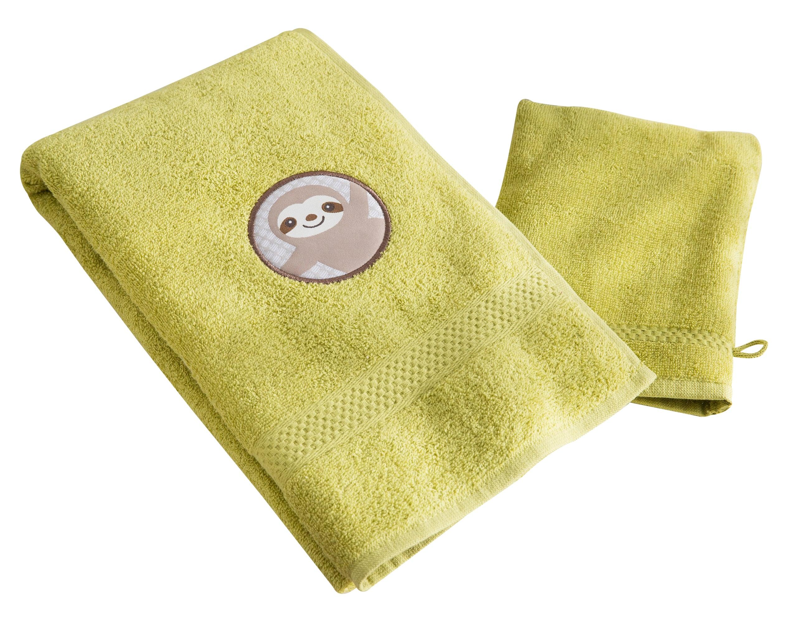 Lot serviette de bain enfant et gant de toilette vert 50x90 en coton