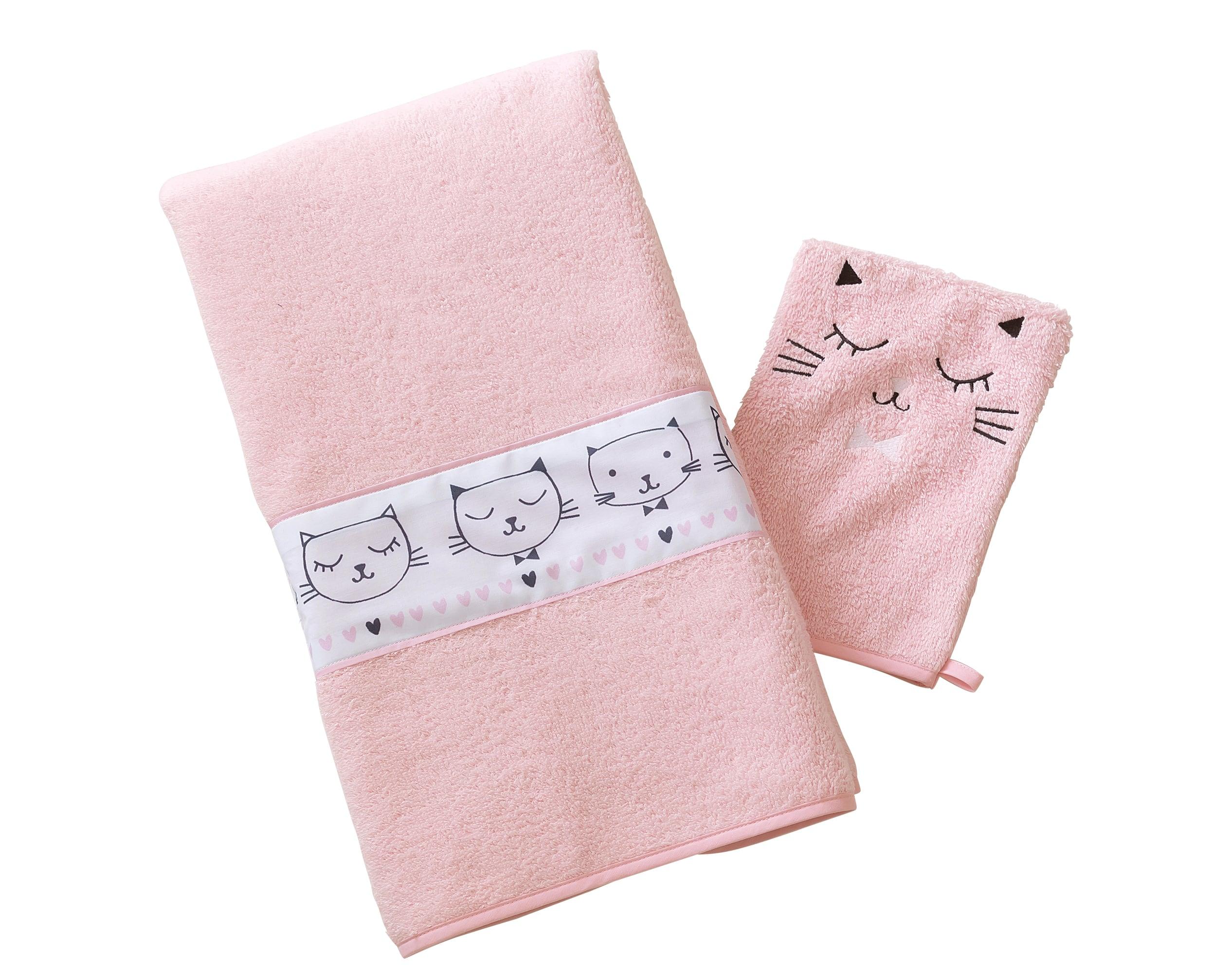 Lot serviette de bain enfant et gant de toilette rose 50x90 en coton
