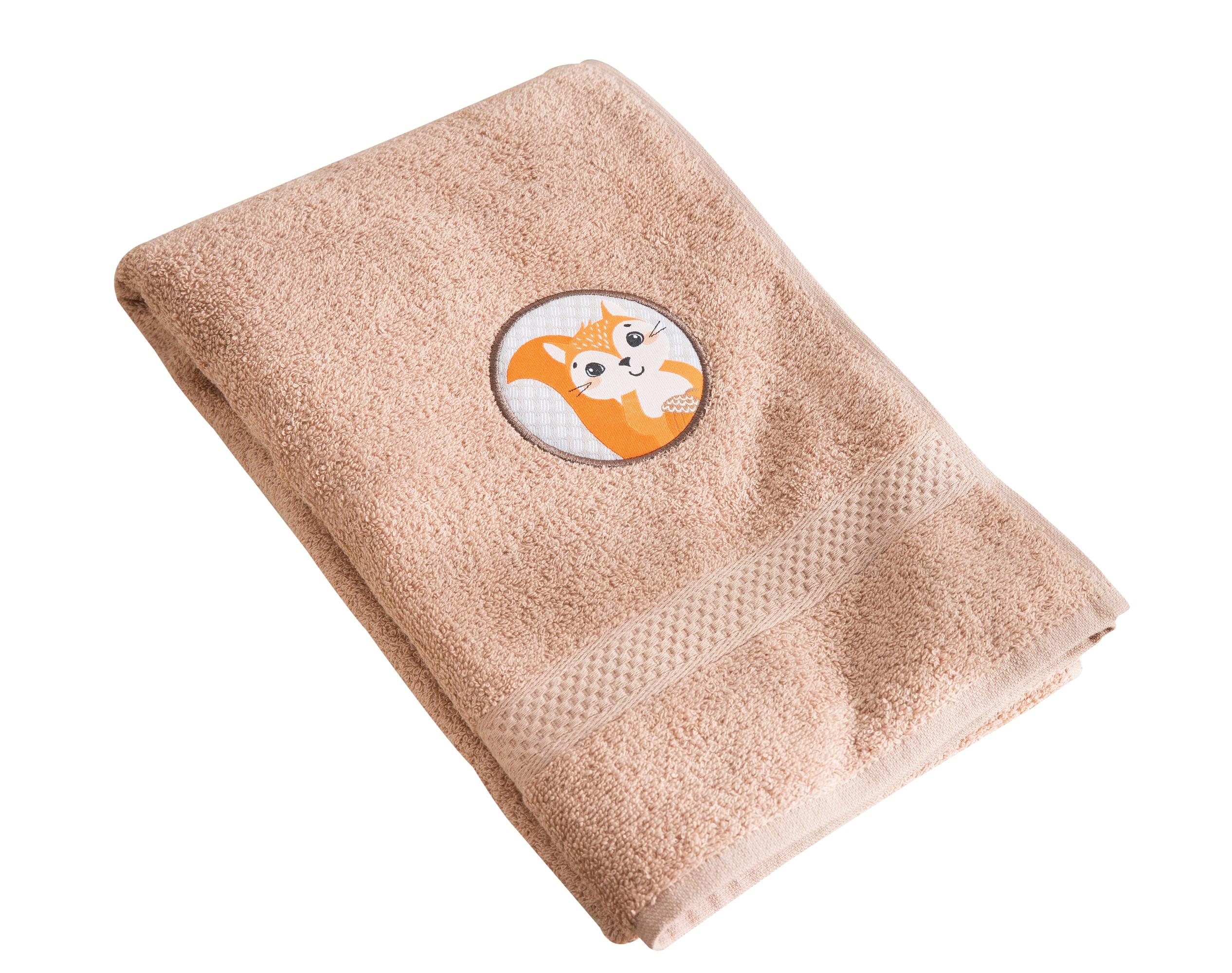 Serviette de bain enfant beige 70x130 en coton