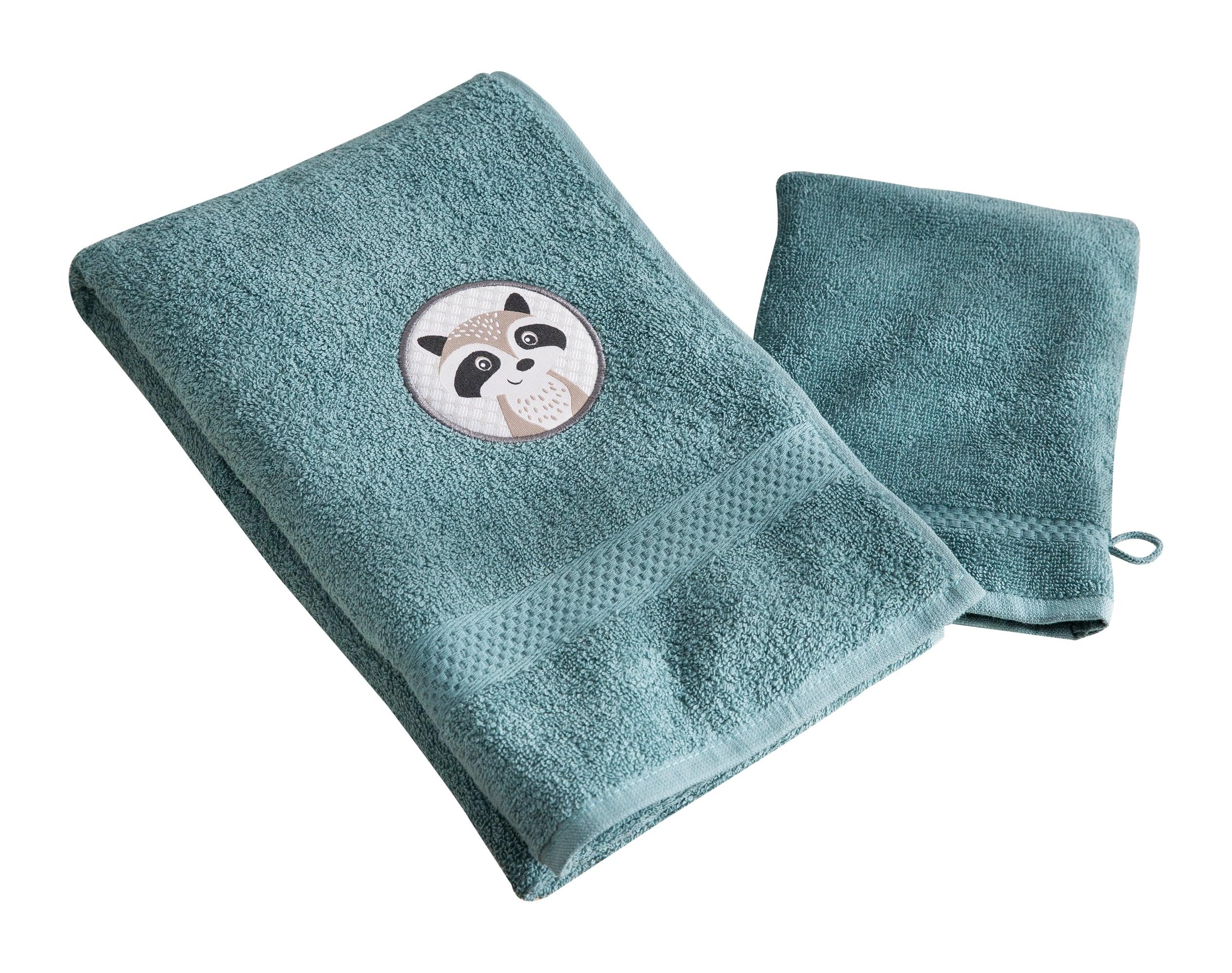 Lot serviette de bain enfant et gant de toilette bleu 50x90 en coton