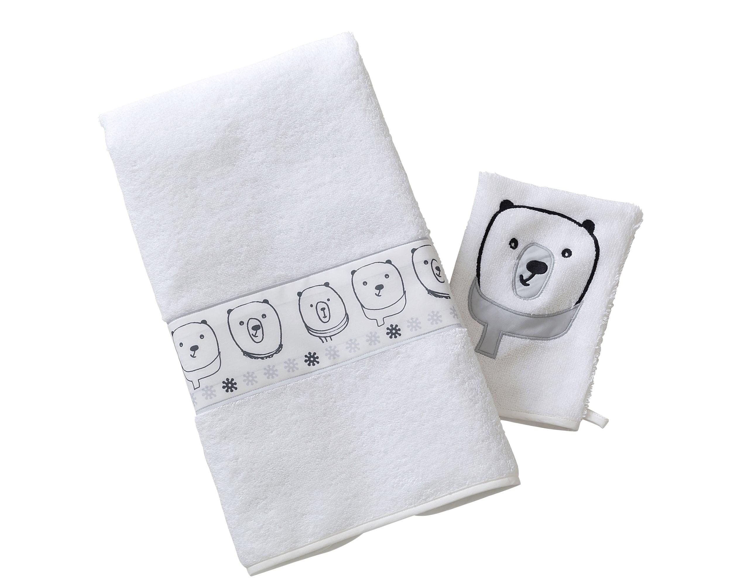 Lot serviette de bain enfant et gant de toilette blanc 50x90 en coton
