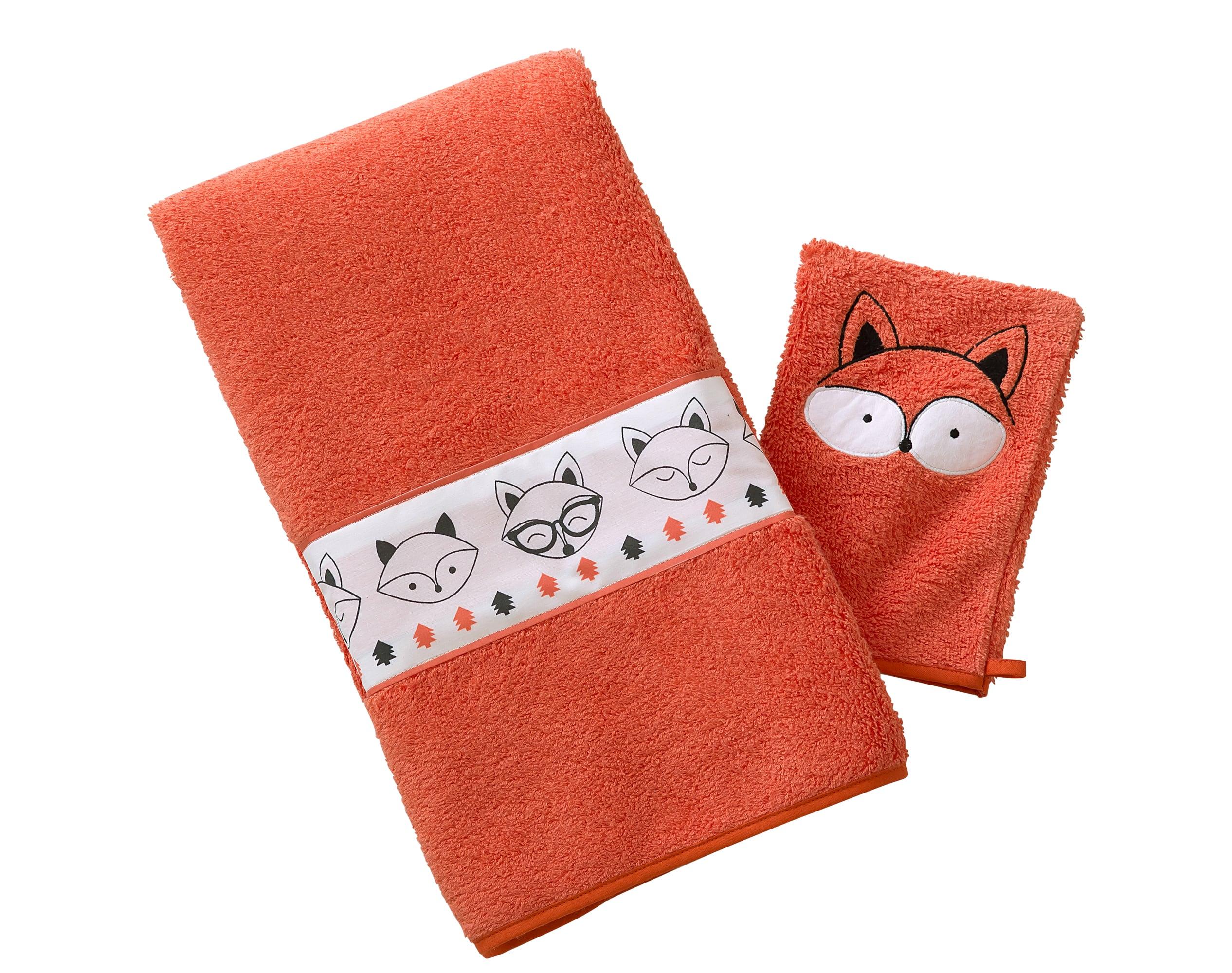 Lot serviette de bain enfant et gant de toilette orange 50x90 en coton