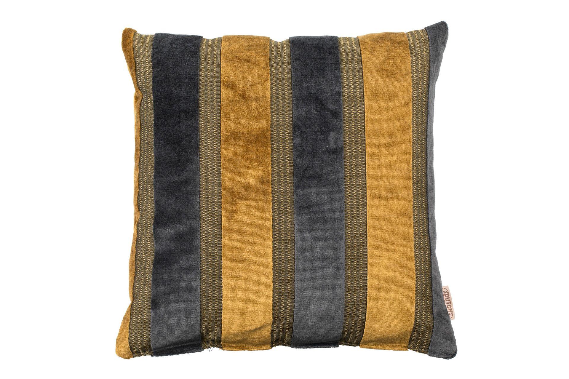 Coussin en tissu jaune et gris