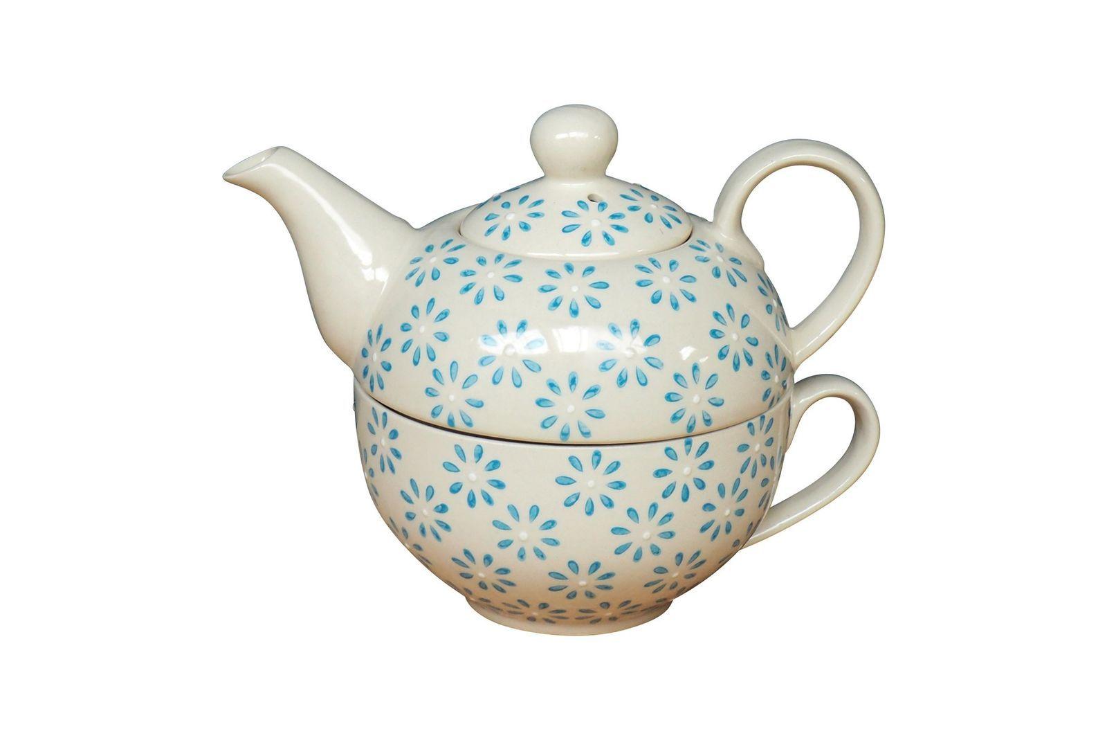 Service à thé en céramique bleu
