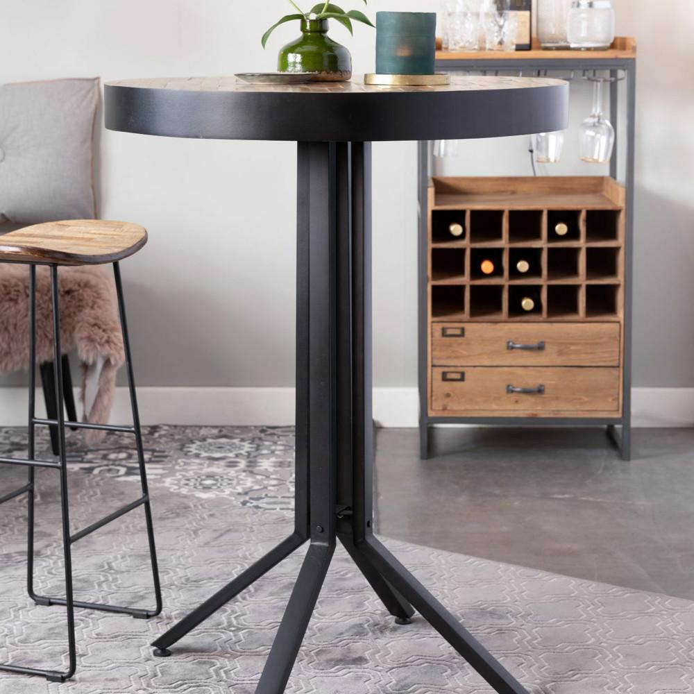 Table de bar ronde en bois et métal H93cm