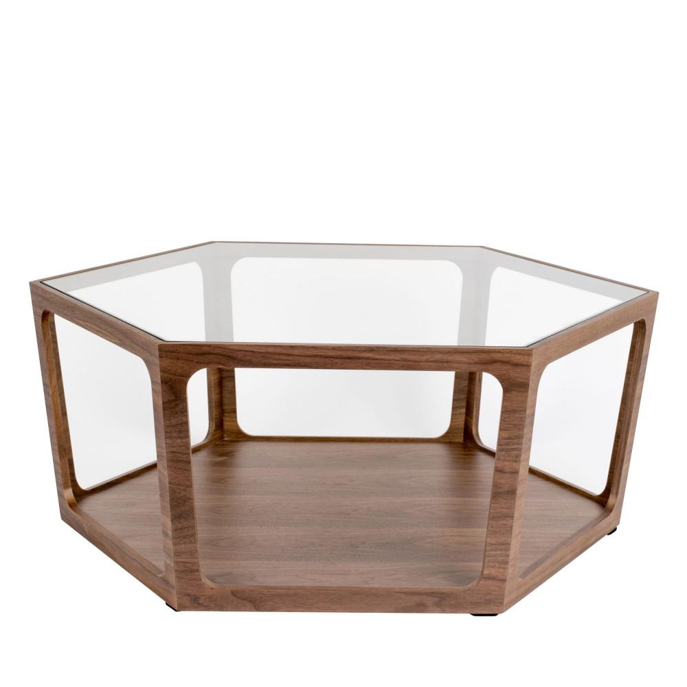 Table basse en verre et bois marron
