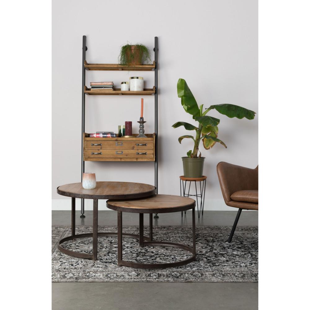 Set de 2 tables basses en bois marron