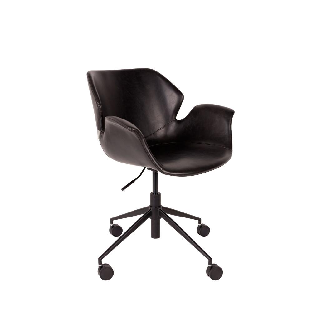Chaise de bureau à roulettes en cuir noir