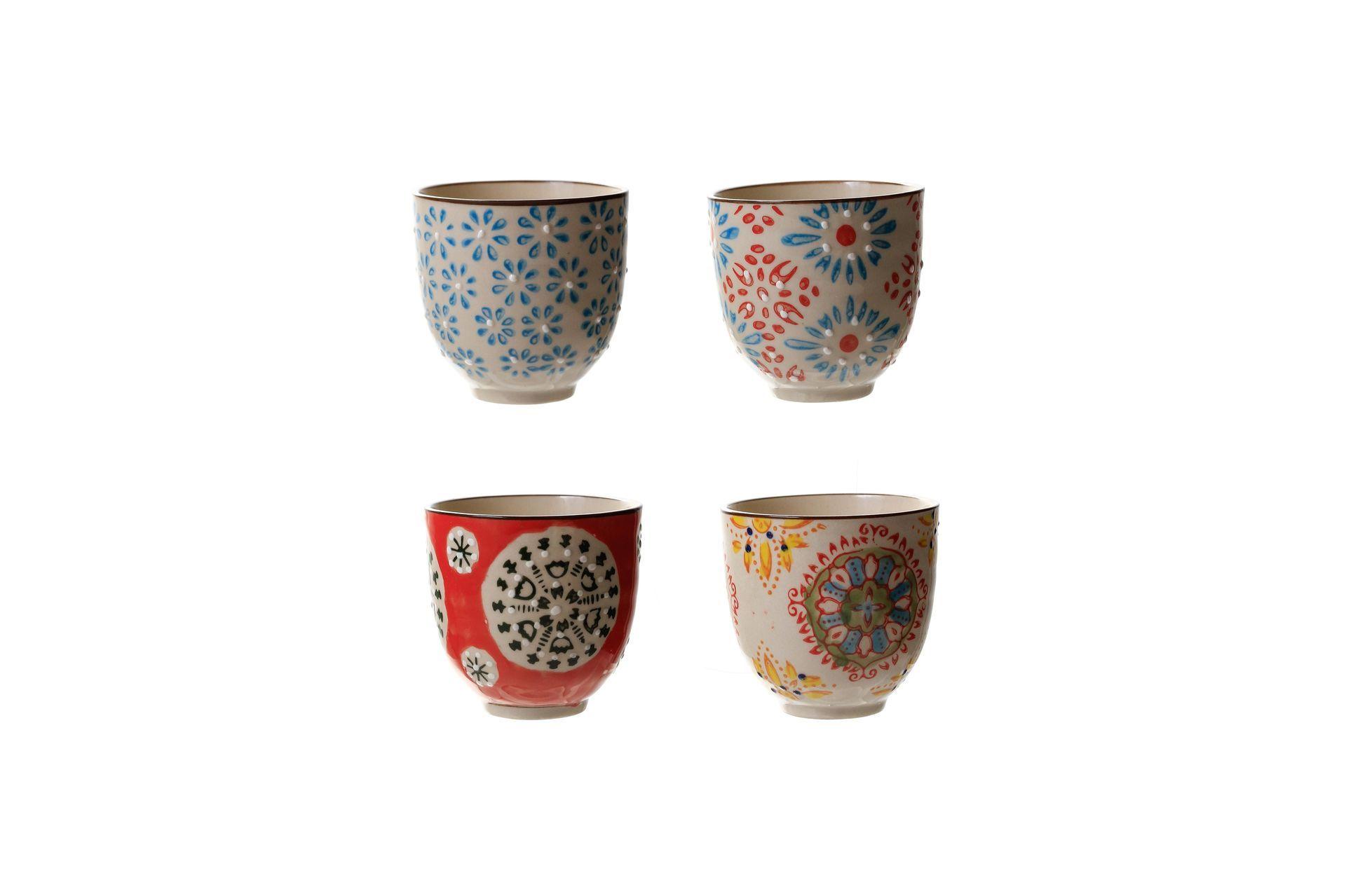 Set de 4 tasses à expresso en céramique multicolore