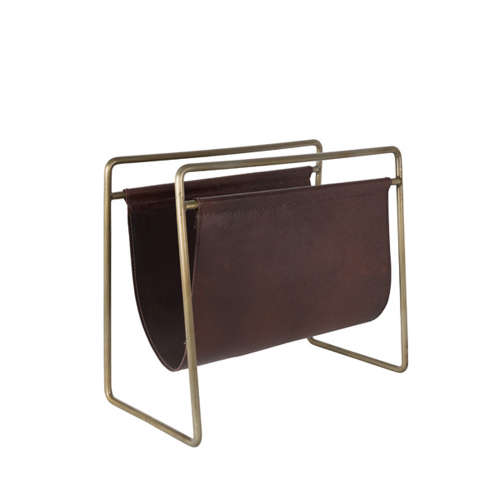 Porte revues vintage cuir et métal marron