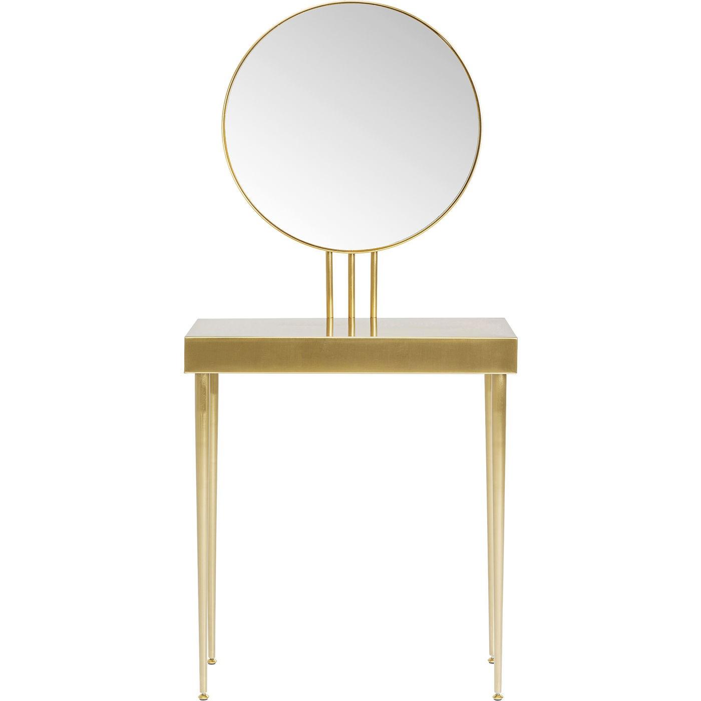 Console avec miroir en acier doré