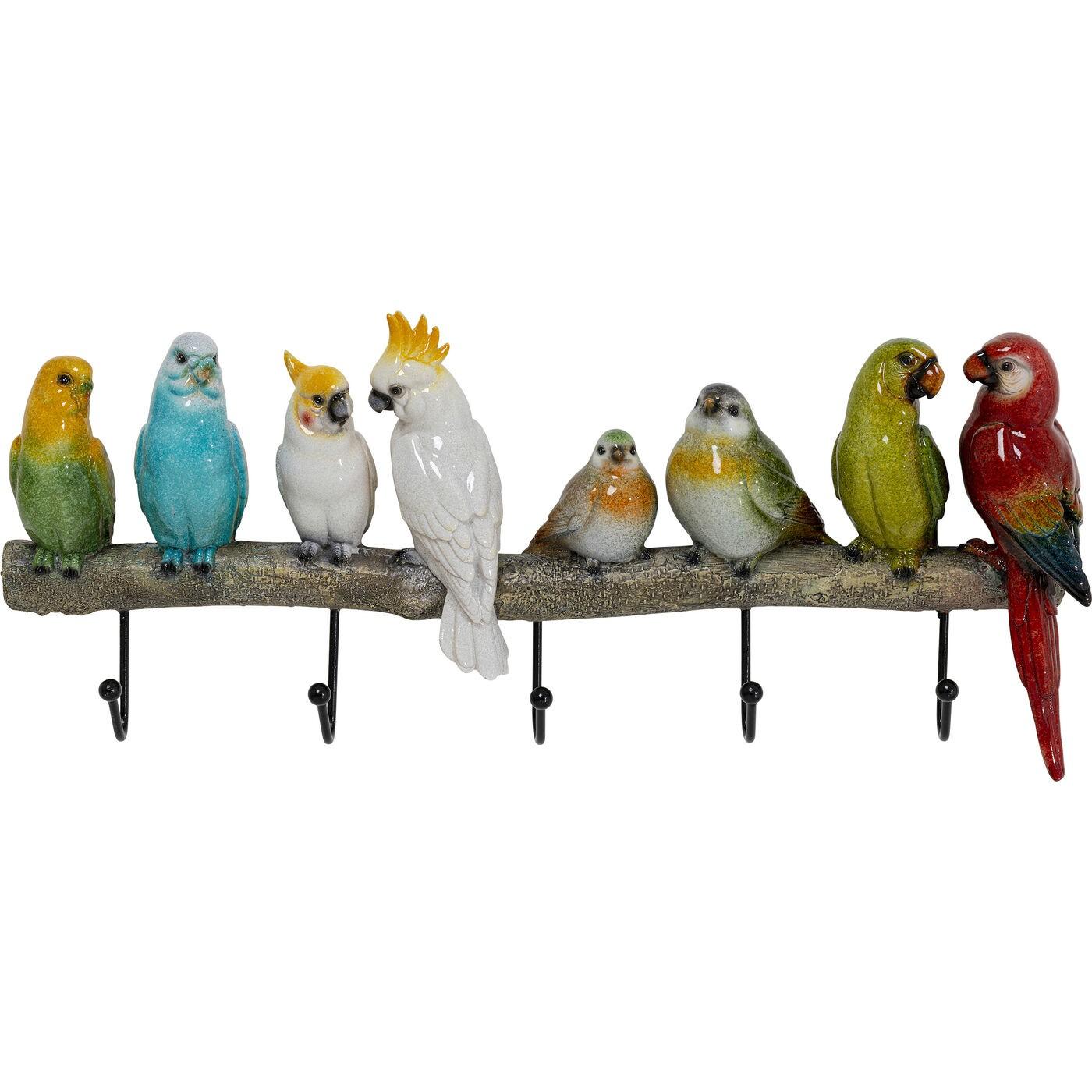 Patère 5 crochets oiseaux en polyrésine et acier
