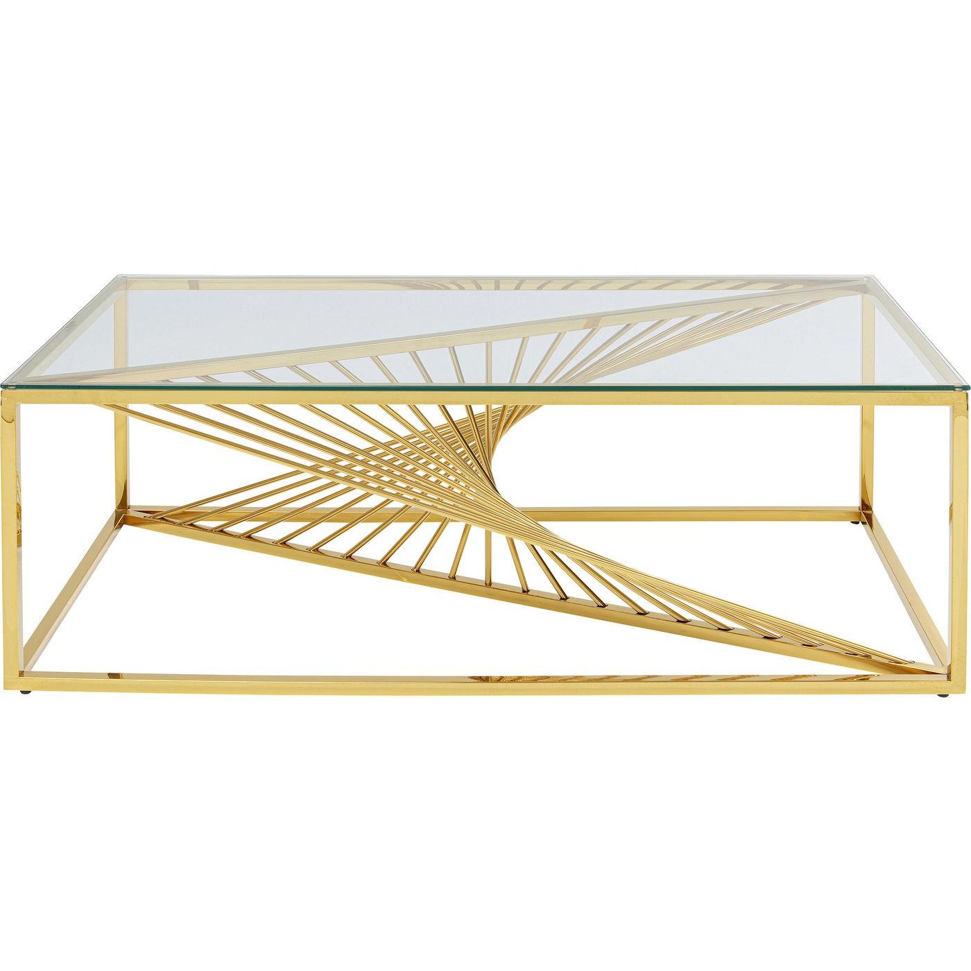 Table basse en verre et acier doré