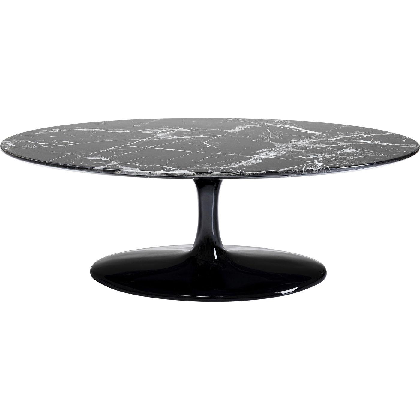 Table basse ovale effet marbre noir et fibre de verre