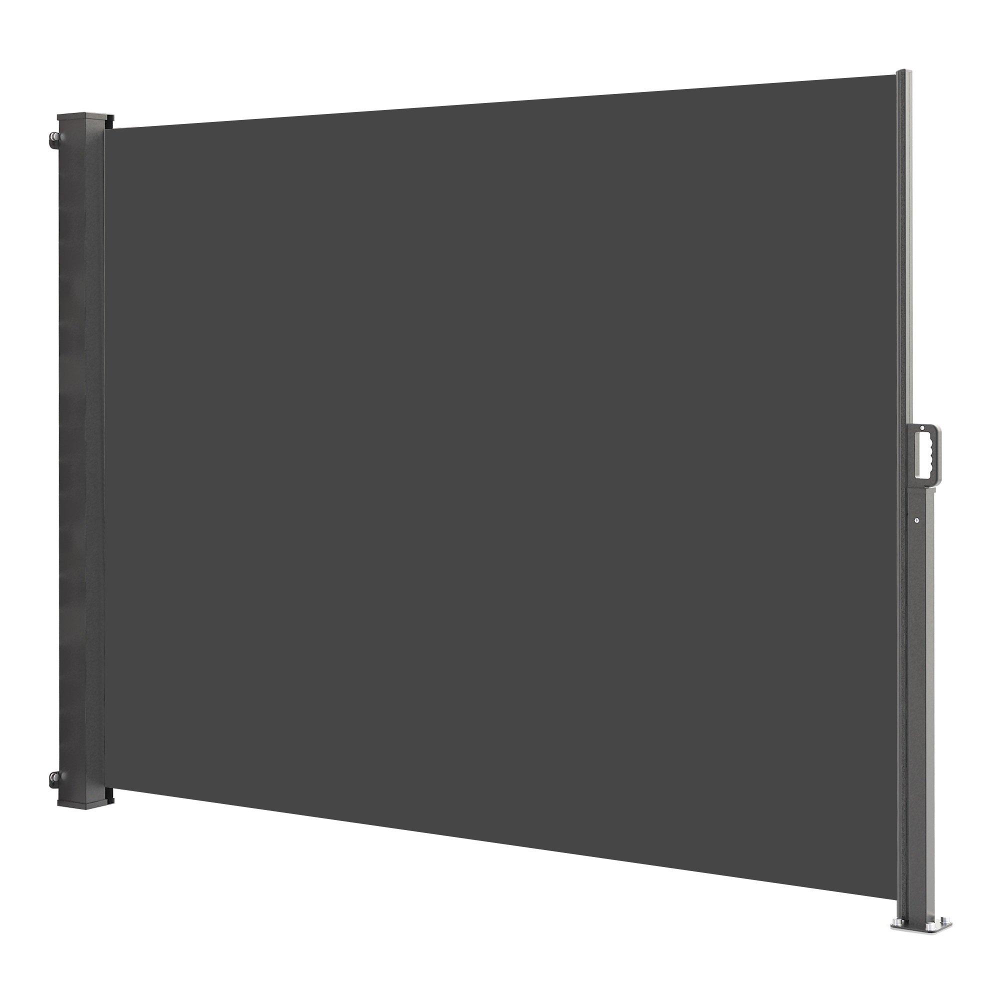 Paravent extérieur rétractable polyester gris 140x300cm